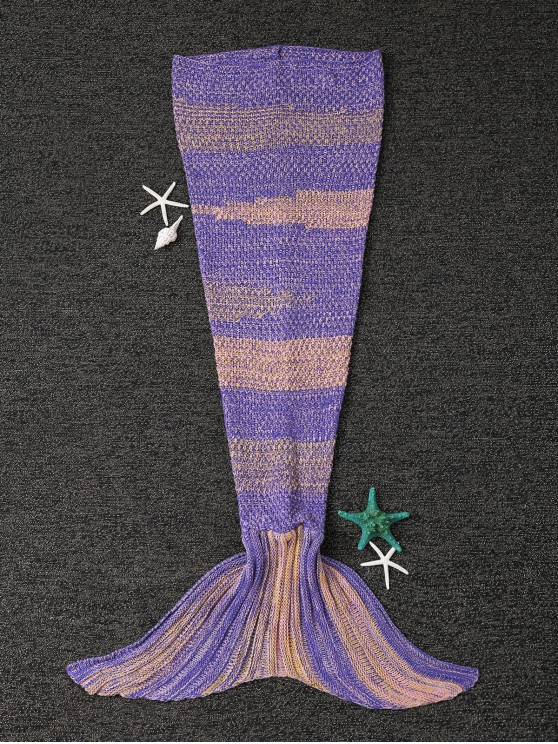 shop Stripe Knitted Mermaid Tail Blanket - YELLOW + PURPLE