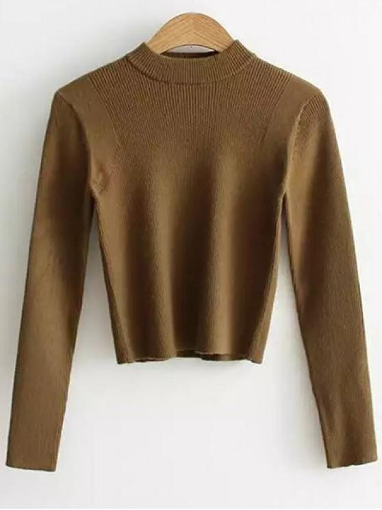 trendy Mock Neck Cropped Pullover Sweater - ARMY GREEN ONE SIZE
