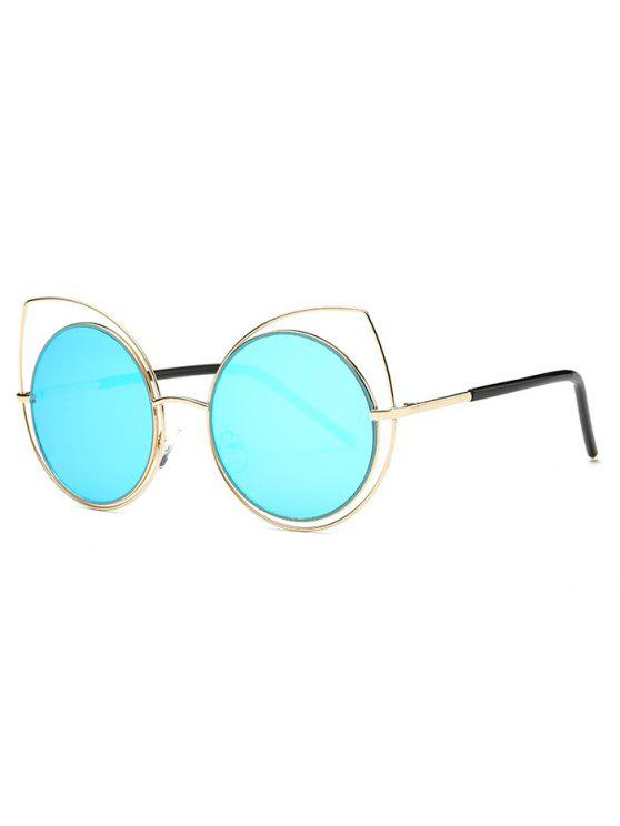 buy Hollow Out Cat Eye Mirrored Sunglasses - LIGHT BLUE