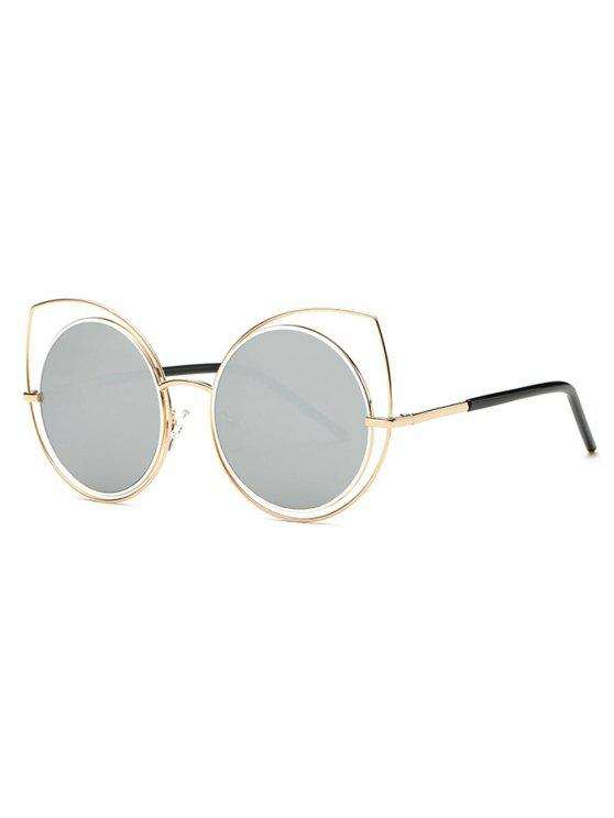 womens Hollow Out Cat Eye Mirrored Sunglasses - LIGHT GRAY