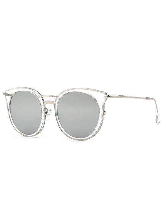 womens Transparent Cat Eye Mirrored Sunglasses - LIGHT GRAY