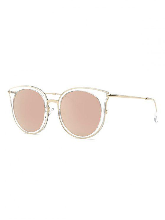 women Transparent Cat Eye Mirrored Sunglasses - ROSE GOLD