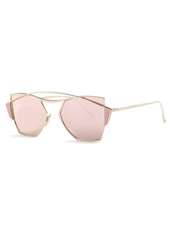 best Crossbar Mirrored Irregular Sunglasses - PINK