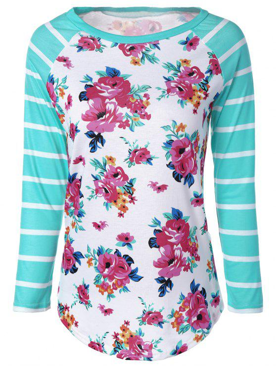 women Long Sleeve Floral Stripe Tee - COLORMIX XL
