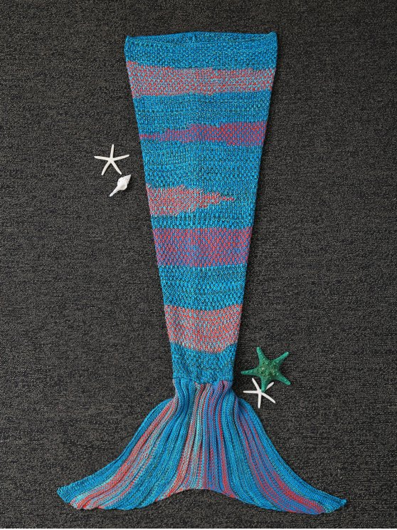 outfits Stripe Knitted Mermaid Tail Blanket - BLUE AND ORANGE