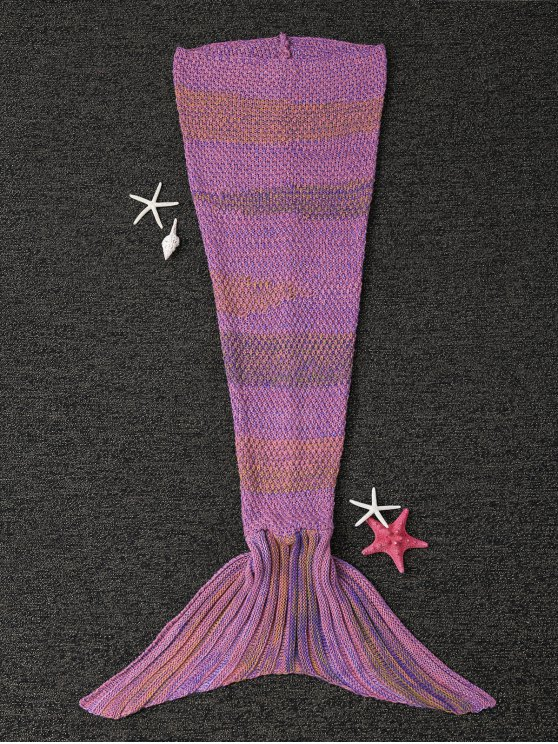 shops Stripe Knitted Mermaid Tail Blanket - LIGHT PURPLE