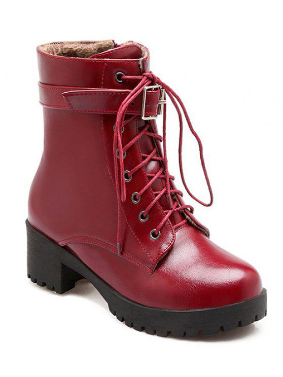 ladies Buckle Lace-Up Round Toe Short Boots - WINE RED 39