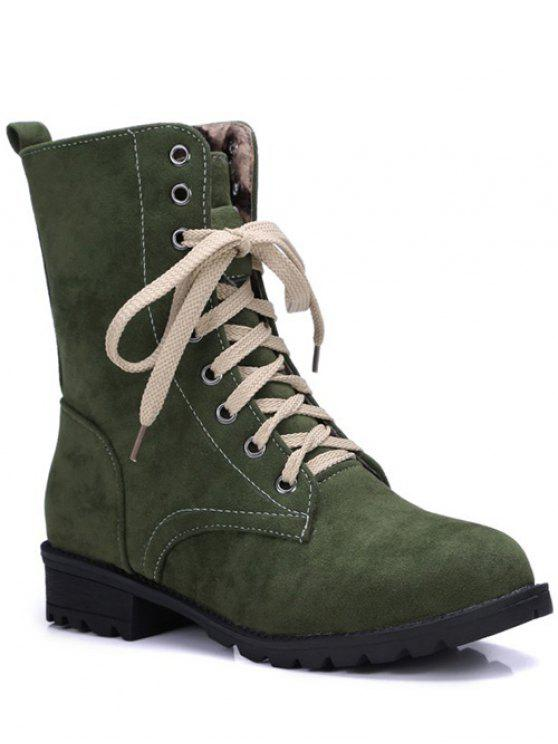 best Lace-Up Solid Colour Combat Boots - GREEN 37