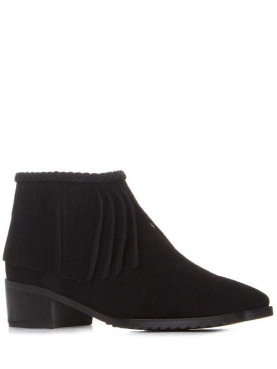 ladies Fringe Square Toe Ankle Boots - BLACK 39