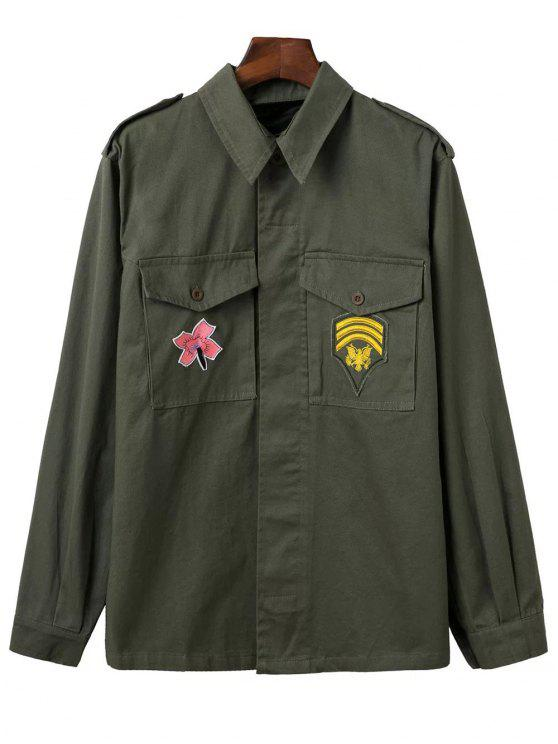 chic Two-Pocket Embroidered Overshirt - ARMY GREEN S