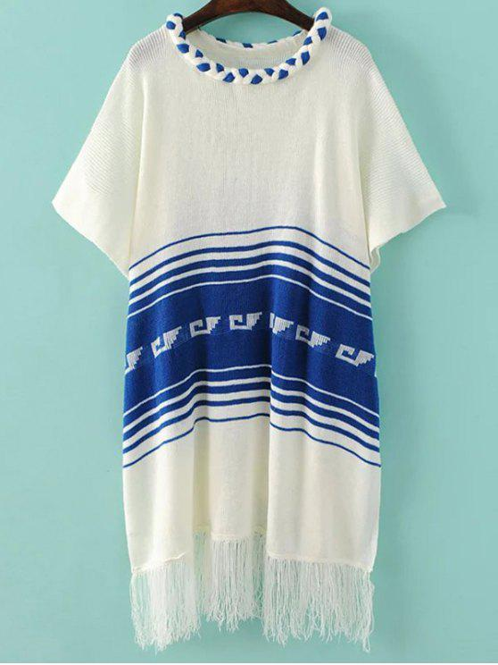 Frange Knit Poncho - Bianco Una Taglia