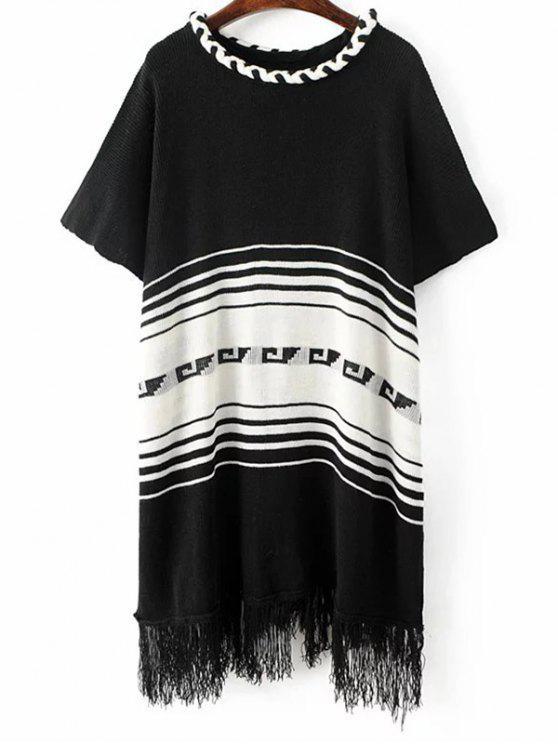 fashion Fringed Knit Poncho - BLACK ONE SIZE
