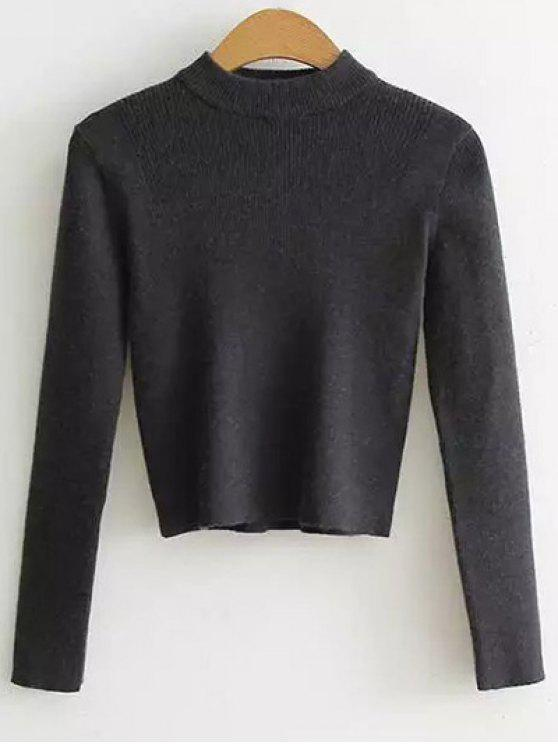 latest Mock Neck Cropped Pullover Sweater - DEEP GRAY ONE SIZE