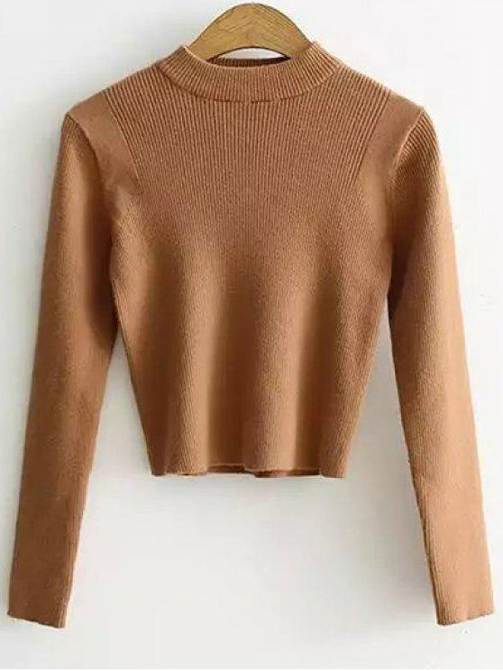 fashion Mock Neck Cropped Pullover Sweater - EARTHY ONE SIZE