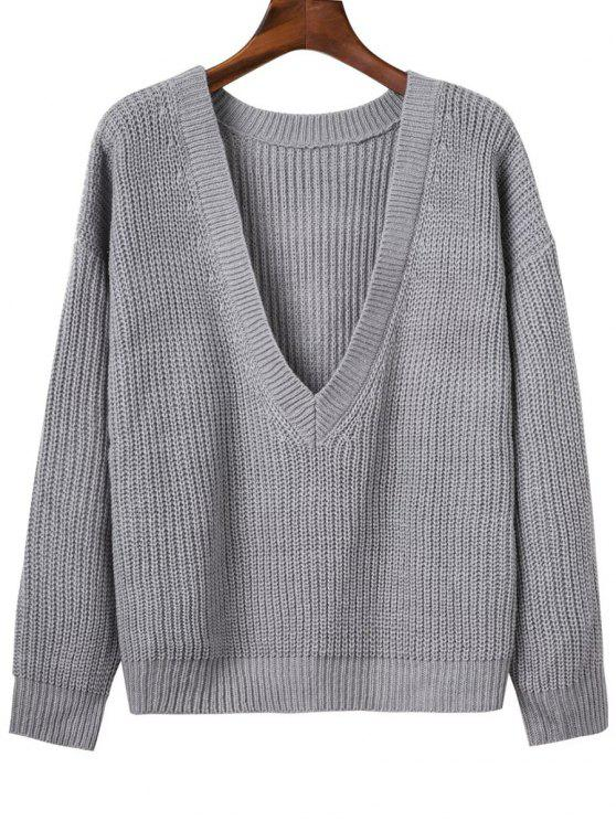 chic V Back Chunky Sweater - GRAY ONE SIZE