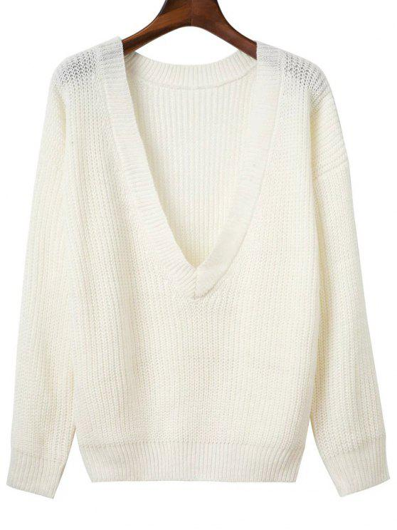 Pullover à dos V à manches longues - Blanc TAILLE MOYENNE