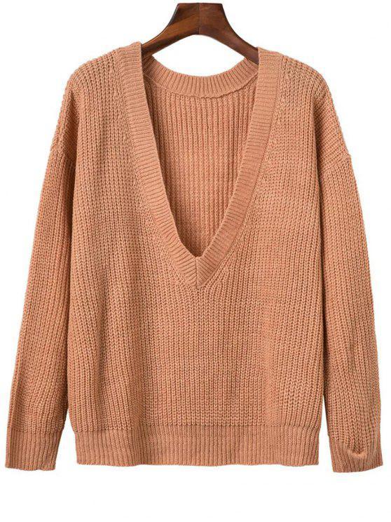 V Volver grueso suéter - Naranja Rosa Única Talla