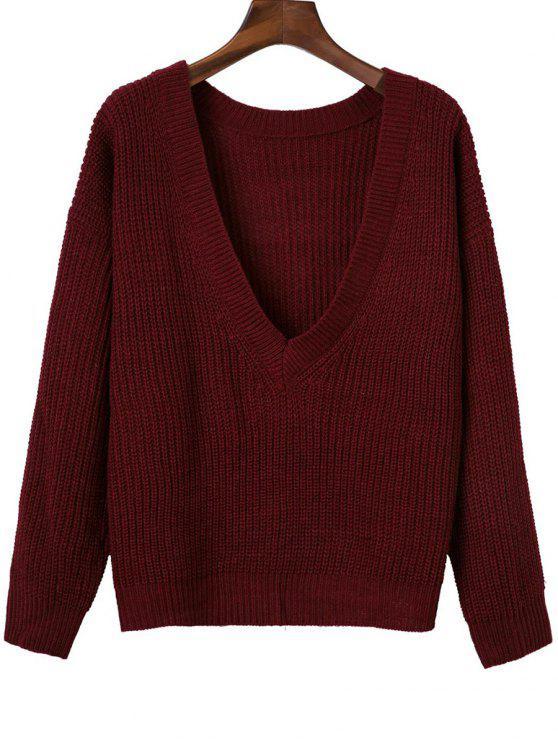 Pullover à dos V à manches longues - Rouge vineux  TAILLE MOYENNE