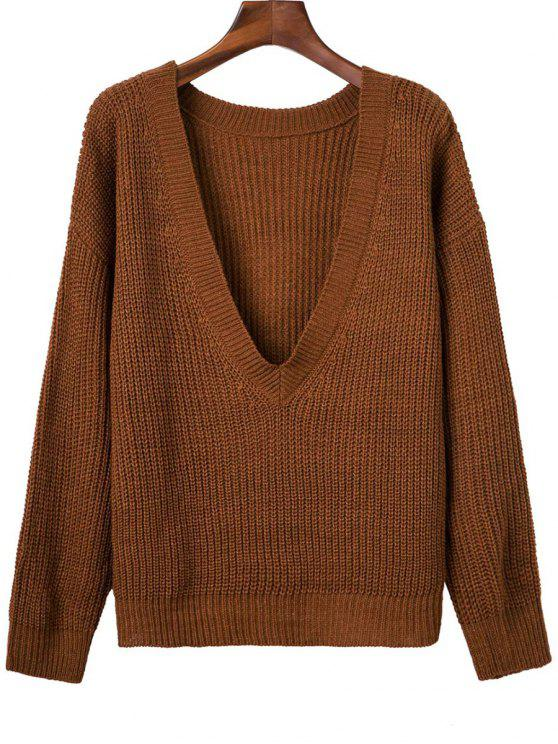 affordable V Back Chunky Sweater - BROWN ONE SIZE
