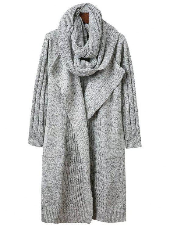 Círculo de la bufanda de cuello abierto Frente Cardigan - Gris Única Talla