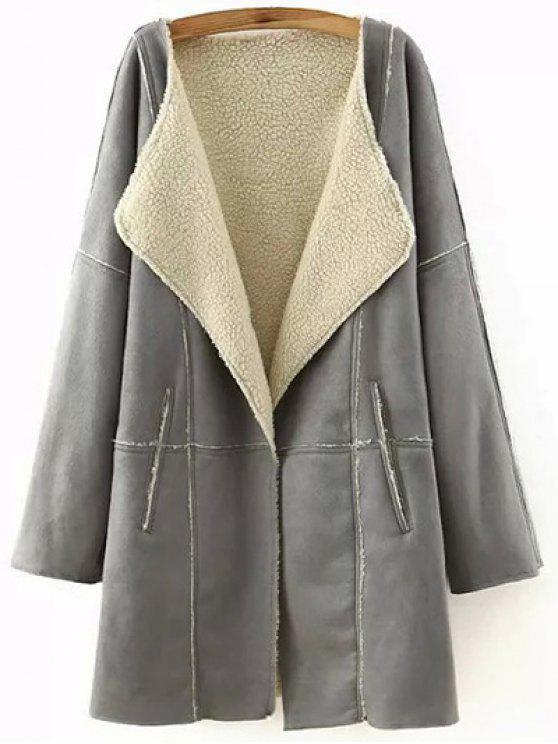 trendy Lapel Collar Suede Coat - GRAY M