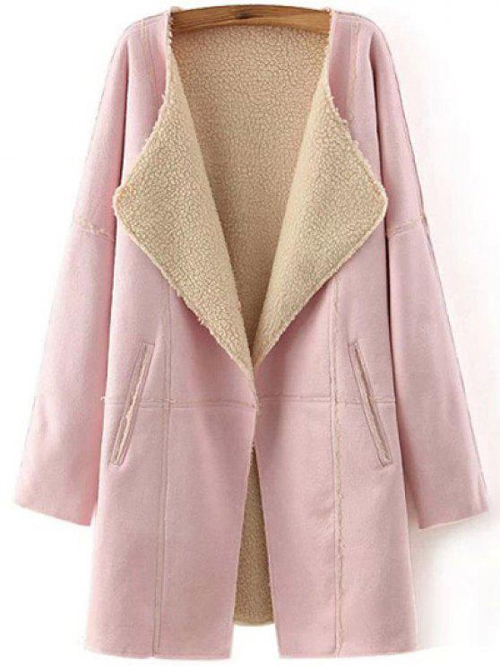 fancy Lapel Collar Suede Coat - PINK M