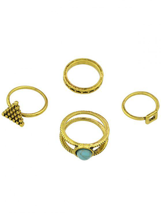 new Geometric Faux Turquoise Rings - GOLDEN ONE-SIZE