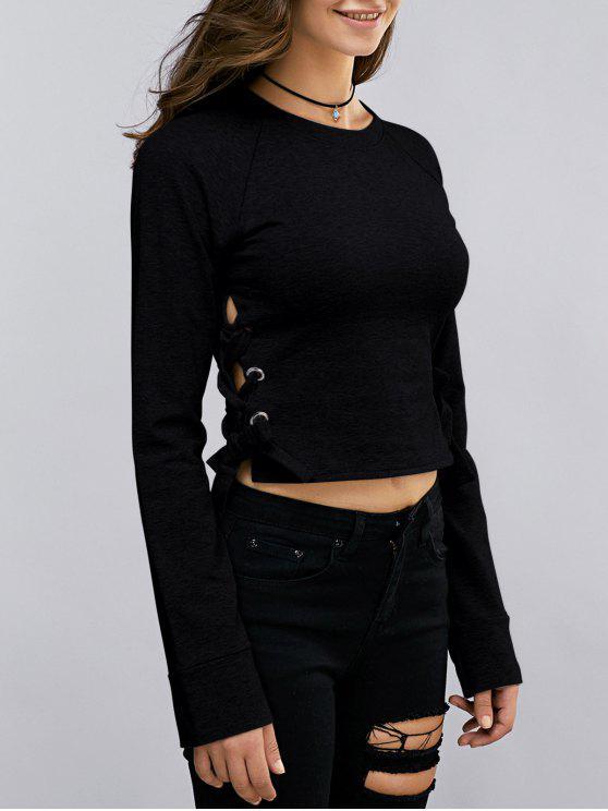 fashion Lace Up Round Neck Cropped Sweatshirt - BLACK S