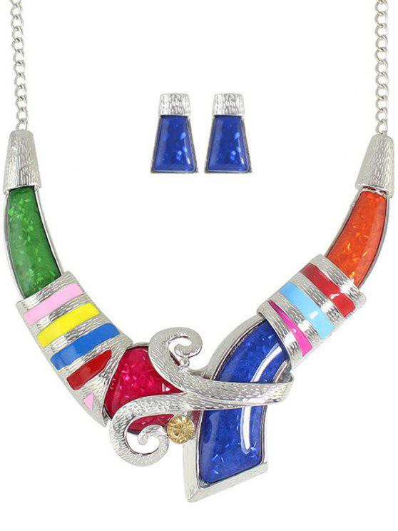 fashion Tribal Rhinestone Necklace and Earrings - COLORMIX