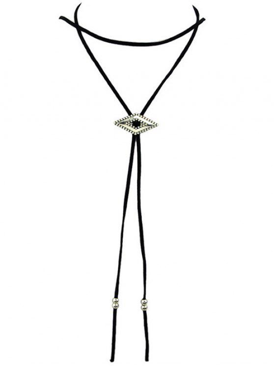 womens Faux Leather Geometric Choker - BLACK