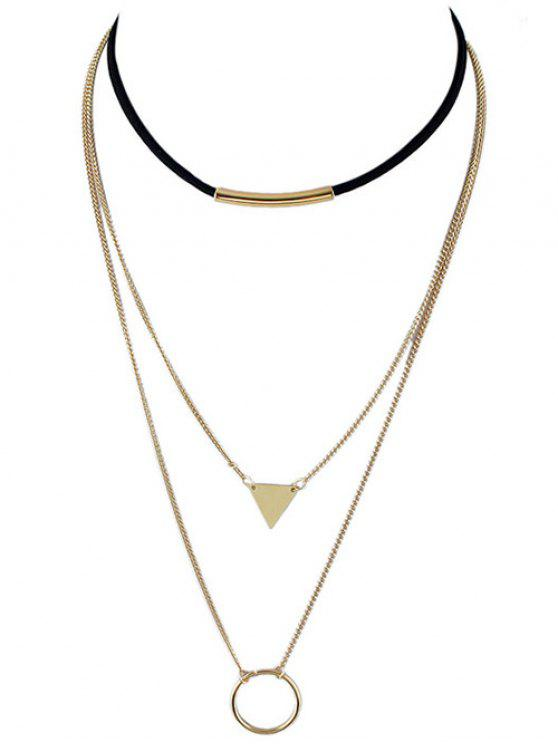 women's Multiayer Circle Triangle Bar Choker - GOLDEN