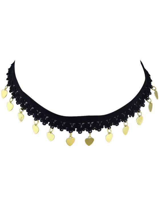 lady Heart Lace Sequins Choker - GOLDEN