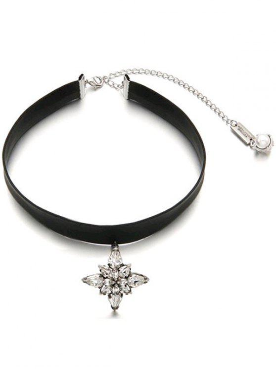shop Adjustable Rhinestone Faux Leather Choker - BLACK