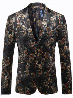 Bird Print Breast Pocket Men Blazer - Black 3xl
