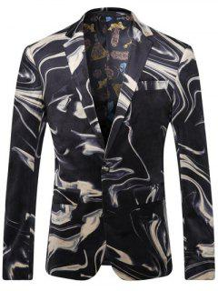Abstract Printed Breast Pocket Lapel Long Sleeve One-Button Blazer For Men - Black L