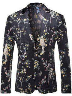 Breast Pocket Floral Printed Lapel Long Sleeve Blazer For Men - Black Xl