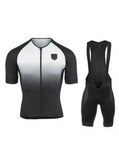 Gradient Color Short Sleeve Jacket + Black Bibshort Cycling Jerseys Twinset For Men - White 2xl