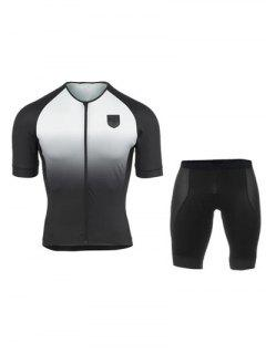 Active Black Shorts + Gradient Color Bike Jerseys Twinset For Men - White M