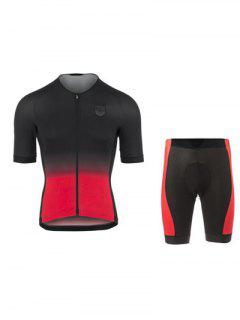 Active Black Shorts + Gradient Color Bike Jerseys Twinset For Men - Red S