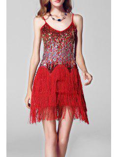 Pailletée Tassel Cami Mini-robe De Scène - Rouge