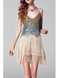 Sequined Flapper Slip Dress - Apricot