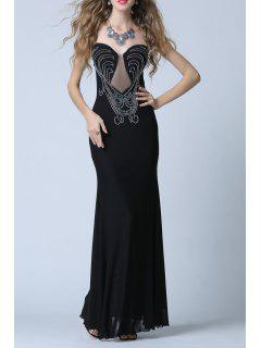 Rhinestone Slit Strapless Bodycon Maxi Evening Dress - Black S