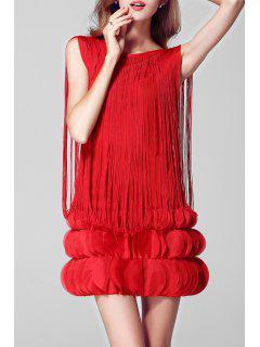 Pétalo De La Borla De La Etapa Mini Vestido - Rojo