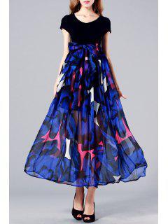 Robe Longue Florale Plissée à Manches Courtes - Bleu Et Noir Xl