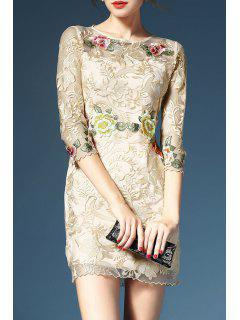 Sheath Fragile Embroidered Dress - Apricot S