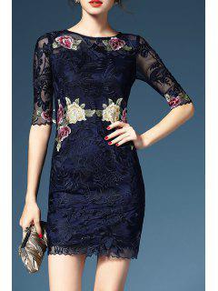 Sheath Fragile Embroidered Dress - Deep Blue 2xl