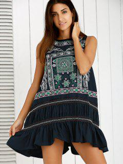 Delicate Embroidery Tank Dress - Purplish Blue M