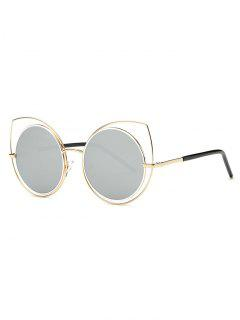 Hollow Out Cat Eye Mirrored Sunglasses - Light Gray
