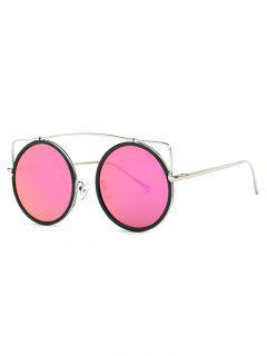 Candy Color Crossbar Round Sunglasses - Rose