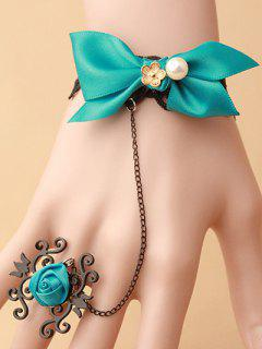 Bowknot Lace Bracelet With Rose Ring - Green